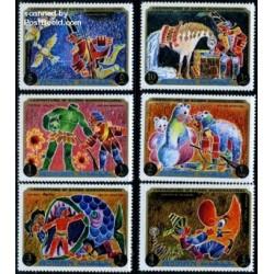 6 عدد تمبر کارتونی ماجراهای بارون فون مونش هاوزن -  عجمان 1971