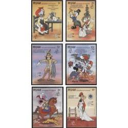 6 رقم از 8 تمبر سری نمایشگاه بین المللی تمبر فلیکس فرانس - کاراکترهای والت دیسنی - بکویا سنت وینسنت 1989