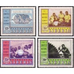 4 عدد تمبر کمکهای فنی سازمان ملل - پست هوائی -لیبریا 1954