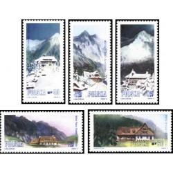 5 عدد تمبر توریسم و گردشگری - کلبه های کوهستانی - لهستان 1972