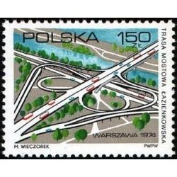 1 عدد تمبر افتتاح بزرگراه لازینکی - لهستان 1974