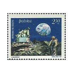 1 عدد تمبر پیاده شدن انسان بر روی ماه - آپولو 11  - لهستان 1969