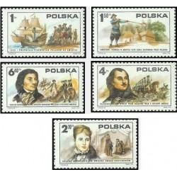 5 عدد تمبر دویستمین سالگرد استقلال آمریکا و مشارکت لهستانی ها در زندگی آمریکائی -  لهستان 1975