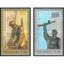 2 عدد تمبر بناهای یادبود جنگ -  لهستان 1976