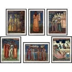 6 عدد تمبر نقاشی های دیواری - رومانی 1970