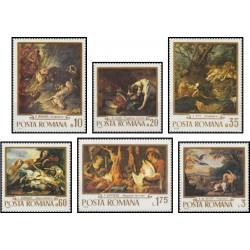 6 عدد تمبر تابلوهای نقاشی با تم شکار - رومانی 1970