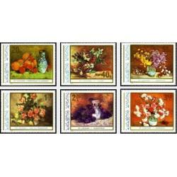 6 عدد تمبر تابلوهای نقاشی گل - رومانی 1976