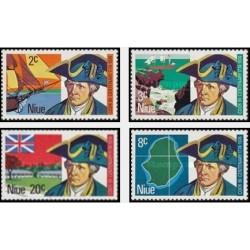 4 عدد تمبر 200مین سال ورود کاپیتان جیمز کوک به ساحل غربی نیو - نیو 1974