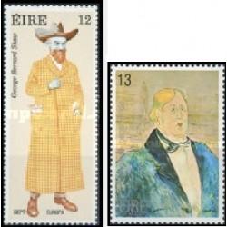 2 عدد تمبر مشترک اروپا - Europa Cept - جرج برنارد شاو و اسکار  وایلد - ایرلند 1980