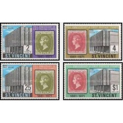 4 عدد تمبر یادبود صدمین سال اولین تمبر سنت وینسنت - سنت وینسنت 1971