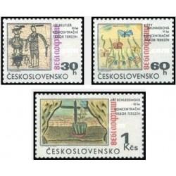 3 عدد تمبر توافقنامه مونیخ - نقاشی کودکان کمپ مراقبت ترزن  - چک اسلواکی 1968