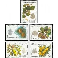 5 عدد تمبر درختان و درختچه های حفاظت شده - شوروی 1980