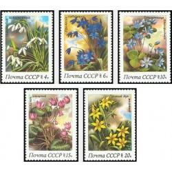 5 عدد تمبر گلهای بهاری - شوروی 1983