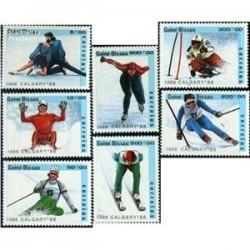 7 عدد تمبر المپیک زمستانی کالگاری - گینه بیسائو 1988