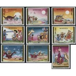 9 عدد تمبر کارتون عصر حجر - خانواده فلینستون - مغولستان 1991