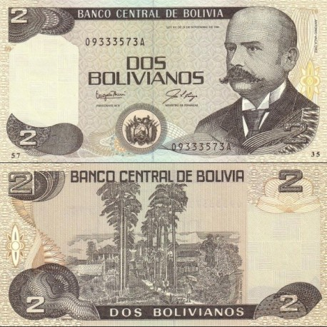 اسکناس 2 بولیویانوس - بولیوی 1986