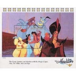 سونیرشیت کارتون علاالدین و چراغ جادو - شخصیتهای کارتونی والت دیسنی-  گویانا 1993 قیمت 5.6 دلار