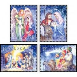 4 عدد تمبر کریستمس - تابلو نقاشی - لهستان 2003 قیمت 8.7 دلار