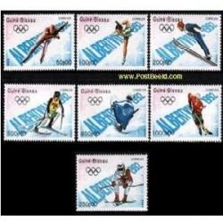 7 عدد تمبر المپیک زمستانی آلبرتا - گینه بیسائو1989
