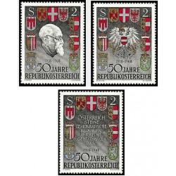 3 عدد تمبر 50مین سالگرد جمهوری اتریش - اتریش 1968