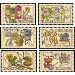 6 عدد تمبر کنگره بین المللی داروئی - گیاهان داروئی و ظروف داروئی تاریخی - چک اسلواکی 1971