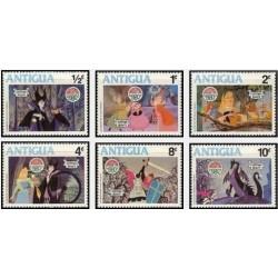 6 رقم از 9 عدد تمبر کریستمس - صحنه هایی از کارتون زیبای خفته  - آنتیگوا 1980