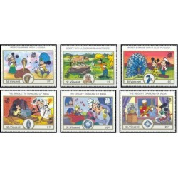 6 رقم از 8 تمبر سری نمایشگاه جهانی تمبر هند - کاراکترهای والت دیسنی - سنت وینسنت 1989