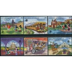 6 رقم از 8 تمبر سری نمایشگاه بین المللی تمبر هند - کاراکترهای والت دیسنی - گرندین سنت وینسنت 1989