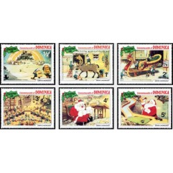 6 رقم از 9 عدد تمبر کریستمس - صحنه هایی از کارتون کارگاه سانتا  - دومنیکا 1981