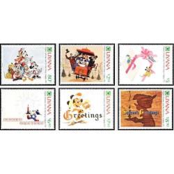 6 رقم از 8 عدد تمبر کریستمس - کارتهای کریستمس والت دیسنی  - گویانا 1991