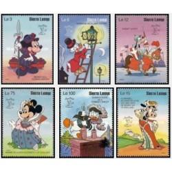 6 رقم از 8 عدد تمبر نمایشگاه بین المللی تمبر لندن - کاراکترهای والت دیسنی  -سیرالئون 1990