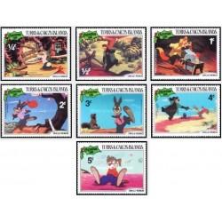 7 رقم از 9 عدد تمبر کریستمس - صحنه هایی از کارتون عمو رموس - جزایر ترکها و کایکو 1981