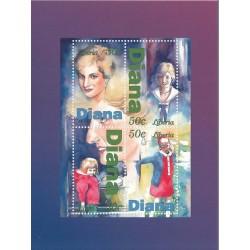 سونیرشیت یادبود فوت دایانا - تمبر اختصاصی  - شیت 6- لیبریا