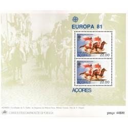 سونیرشیت تمبر مشترک اروپا - Europa Cept - فولکلور  - آزورس پرتغال 1981