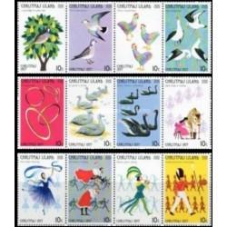 12 عدد تمبر کریستمس - 12 روز کریستمس - B-  جزیره کریستمس 1977 جدا شده از شیت