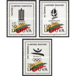 3 عدد تمبر بازیهای المپیک - لیتوانی 1992