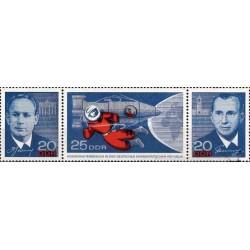 2 عدد تمبر ملاقات با فضانوردان روسی با تب - جمهوری دموکراتیک آلمان 1965