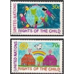 2 عدد تمبر 30مین سالگرد اعلامیه جهانی حقوق کودک و نشست جهانی کودک  - نیویورک سازمان ملل 1991