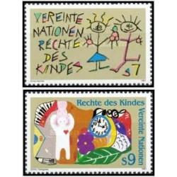 2 عدد تمبر حقوق کودکان - وین سازمان ملل 1991 قیمت 3.98 دلار