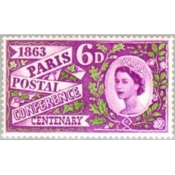 1 عدد تمبر صدمین سالگرد اولین کنفرانس پستی در پاریس- انگلیس 1963