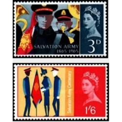 2 عدد تمبر  صد سالگی ارتش نجات - انگلیس 1965