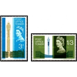 2 عدد تمبر افتتاح برج اداره پست لندن - انگلیس 1965