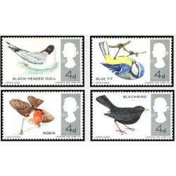 4 عدد تمبر پرندگان - انگلیس 1966