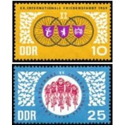 2 عدد تمبر مسابقات دوچرخه سواری صلح - ورشو برلین پراگ - جمهوری دموکراتیک آلمان 1967