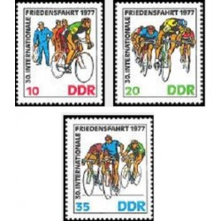 3 عدد تمبر 30مین دوره مسابقات دوچرخه سواری صلح - جمهوری دموکراتیک آلمان 1977