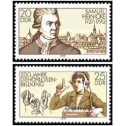 2 عدد تمبر 200مین سال ابداع زبان اشاره - ساموئل هاینکه - جمهوری دموکراتیک آلمان 1978