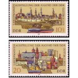 2 عدد تمبر نمایشگاه تمبر کوتبوس - جمهوری دموکراتیک آلمان 1978