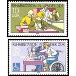 2 عدد تمبر کمکهای توانبخشی - جمهوری دموکراتیک آلمان 1979