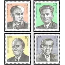 4 عدد تمبر شخصیتهای جنبش کارگری - جمهوری دموکراتیک آلمان 1979