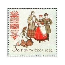 1 عدد تمبر لباسهای محلی - لباسهای لتونی - شوروی 1962